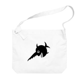 笑うノコギリザメ Big shoulder bags