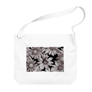 モノクロ花園ロゴ Big shoulder bags