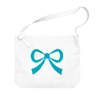 リボン🎀ターコイズ Big shoulder bags