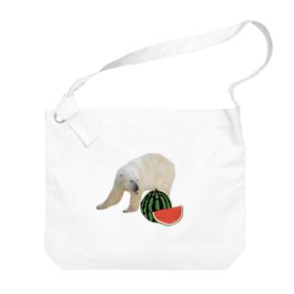 シロクマとスイカ Big Shoulder Bag
