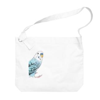 振りむきセキセイインコちゃん【まめるりはことり】 Big shoulder bags