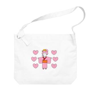 江戸っ子ちゃんだねっ!お豚(とん)さんっ!withハート!! Big Shoulder Bag
