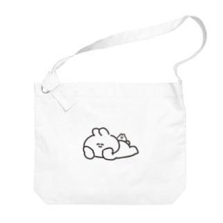 寝そべりうさちゃんハムちゃん Big shoulder bags