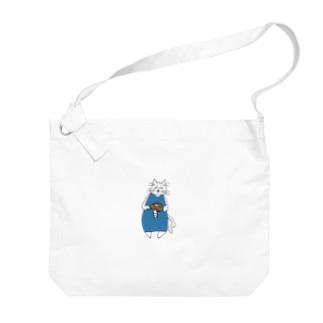巻きしいたけ柄マキシ丈ワンピを着た猫 Big shoulder bags