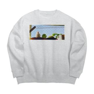 松砂丸商店の白文鳥のチマフミ Big silhouette sweats