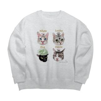 なにぬ猫-YAの<うちの子+にくきゅう*ポートレート>KHAW & DAOW&BEA&LUCKY Big silhouette sweats