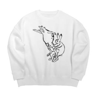 鳥獣戯画現代版 組体操 Big silhouette sweats