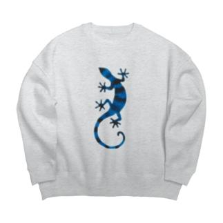 青いしましまのトカゲ Big silhouette sweats