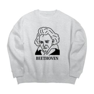 ベートーベン BEETHOVEN イラスト 音楽家 偉人アート ストリートファッション Big silhouette sweats