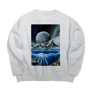 スプレーアート 月光🌕 オシムラサイン入り Big silhouette sweats