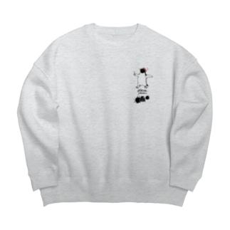 小-〆切戒めのペンギン(薄い生地色用) Big silhouette sweats