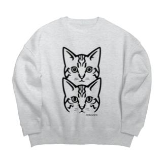 保護猫 MERU&TETO【黒プリント】 Big silhouette sweats