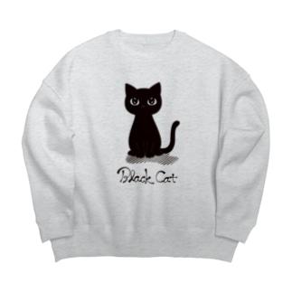 黒猫 Big silhouette sweats
