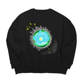 さっぱり可愛く地球っぽく Big silhouette sweats