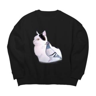 猫とハト Big silhouette sweats