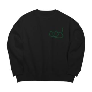 緑のしらかにゃ Big Crew Neck Sweatshirt