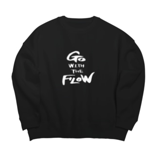GO WITH THE FLOW.(白字) Big silhouette sweats