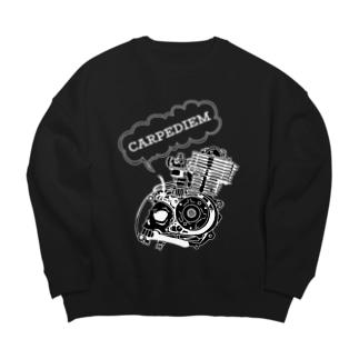 ドクロエンジン黒 Big Crew Neck Sweatshirt