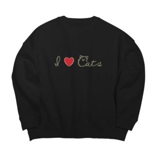 I love cats 小さめロゴ 文字色:ホワイトチョコ Big silhouette sweats