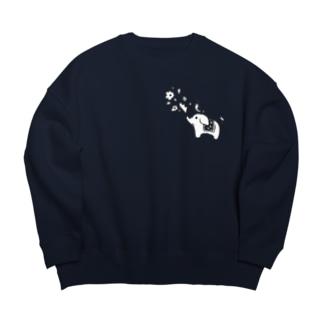 ゾウさんとお花 Big Crew Neck Sweatshirt