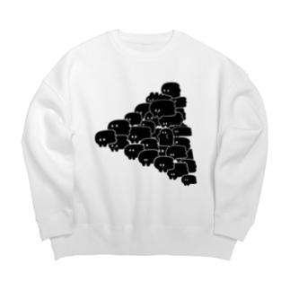 ひだりにいこう!(Black) Big silhouette sweats