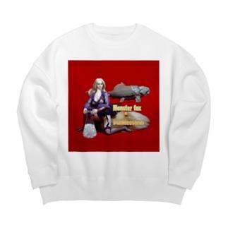 ドール写真:ブロンドの妖狐と甲冑魚 Doll picture: Blonde monsterfox & Dunkleosteus Big silhouette sweats