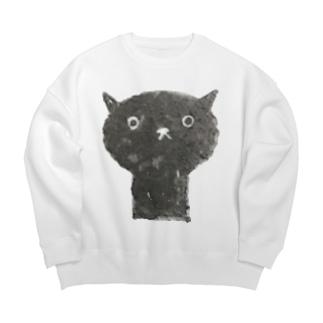 陶器絵の黒猫 Big silhouette sweats