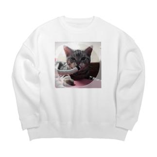 猫のロズ君_ねこネコcatの猫のロズ君 ねこネコcat Big silhouette sweats