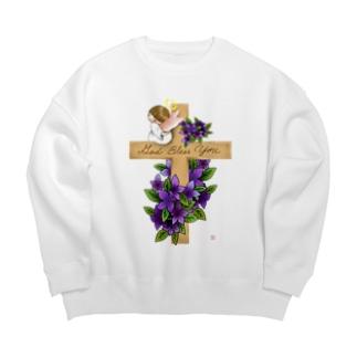 十字架にちょこんと天使ちゃん Big silhouette sweats