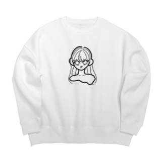 ロングヘアのあっかんべーちゃん(モノクロ) Big silhouette sweats