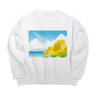 色々雑貨屋さんの海辺の向日葵 Big silhouette sweats