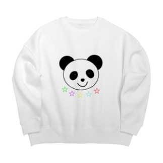 Yuuオリジナルイラスト25 パンダと5色の星 Big silhouette sweats