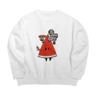 歩き出すスイカ氏 Big Crew Neck Sweatshirt