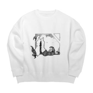 冒涜的な猫ハス(色なし) Big silhouette sweats