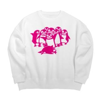ペンギン切り絵(ピンク) Big silhouette sweats