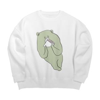 ハムサンドを食べるクマ Big silhouette sweats