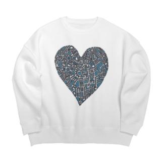 Blue  heart Big silhouette sweats