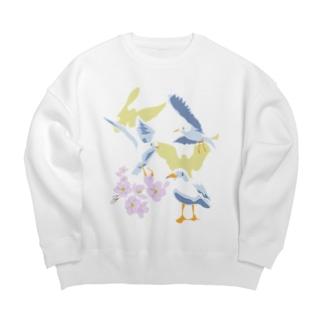 ユリカモメと桜と Big silhouette sweats