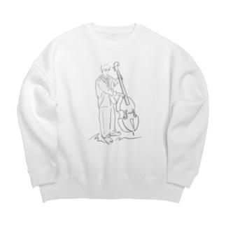 線画 コントラバスの人 Big Crew Neck Sweatshirt