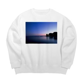 夕陽が沈んだ海岸線 Big silhouette sweats