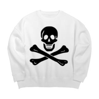 海賊旗スカル-Jolly Roger サミュエル・ベラミーの海賊旗-黒ロゴ Big silhouette sweats