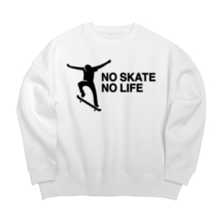 NO SKATE NO LIFE 黒ロゴ Big silhouette sweats