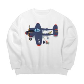 すろくまノーズアートP-38(ペロハチ) Big Crew Neck Sweatshirt