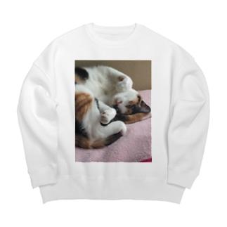 モモさんショップの愛猫モモ Big Crew Neck Sweatshirt