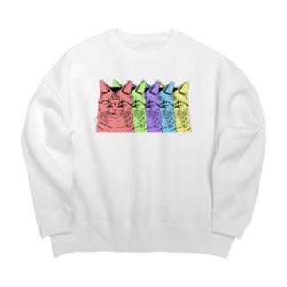 目つきの悪い猫カラフル Big Crew Neck Sweatshirt