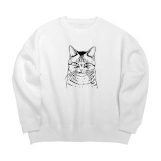 目つきの悪い猫しろ Big Crew Neck Sweatshirt