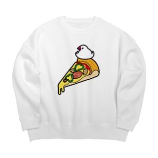 ピザで暖をとる文鳥(素材が濃い色用) Big silhouette sweats