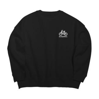 じてんしゃ 白ロゴ Big Crew Neck Sweatshirt