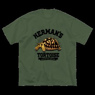 Rie HAYASHIのヘルマンさんカレッジロゴ文字黒 Big silhouette T-shirts
