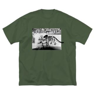 トリケラトプス骨格(白) Big silhouette T-shirts